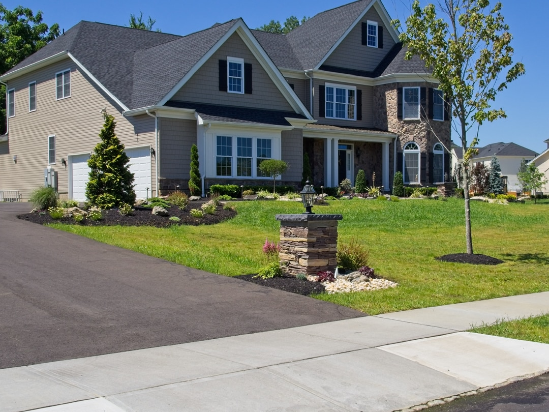Front Walkway, Pillars, Landscaping, and Coastal Source Outdoor Lighting – Ridings at Cream Ridge