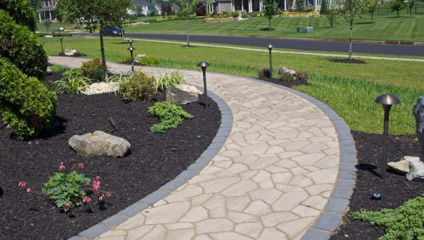 Front Walkway, Pillars, Landscaping, and Coastal Source Outdoor Lighting - Ridings at Cream Ridge