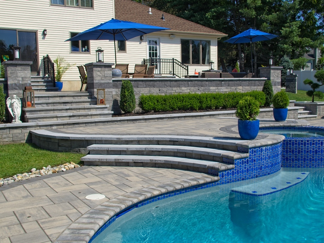 Paver patios walkways pool coping steps sitting walls Monmouth County NJ New Jersey